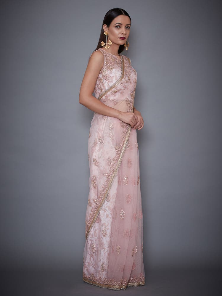 Soft Pink Nadira Floral Embroidered Saree With Stitched Blouse