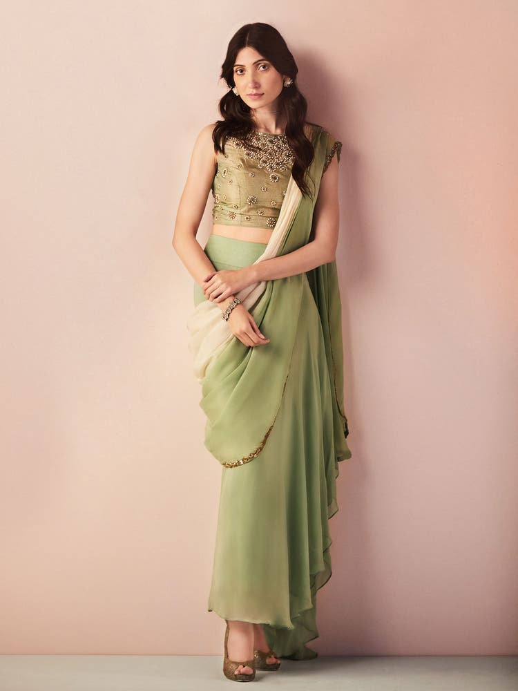Mint Green & Off White Ombre Draped Saree With Blouse
