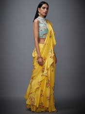 Aqua & Yellow Ethnia Ruffle Saree With Stitched Blouse