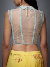 Aqua & Yellow Ethnia Ruffle Saree With Stitched Blouse
