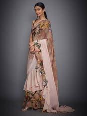 Brown & Peach Floral Print Saree