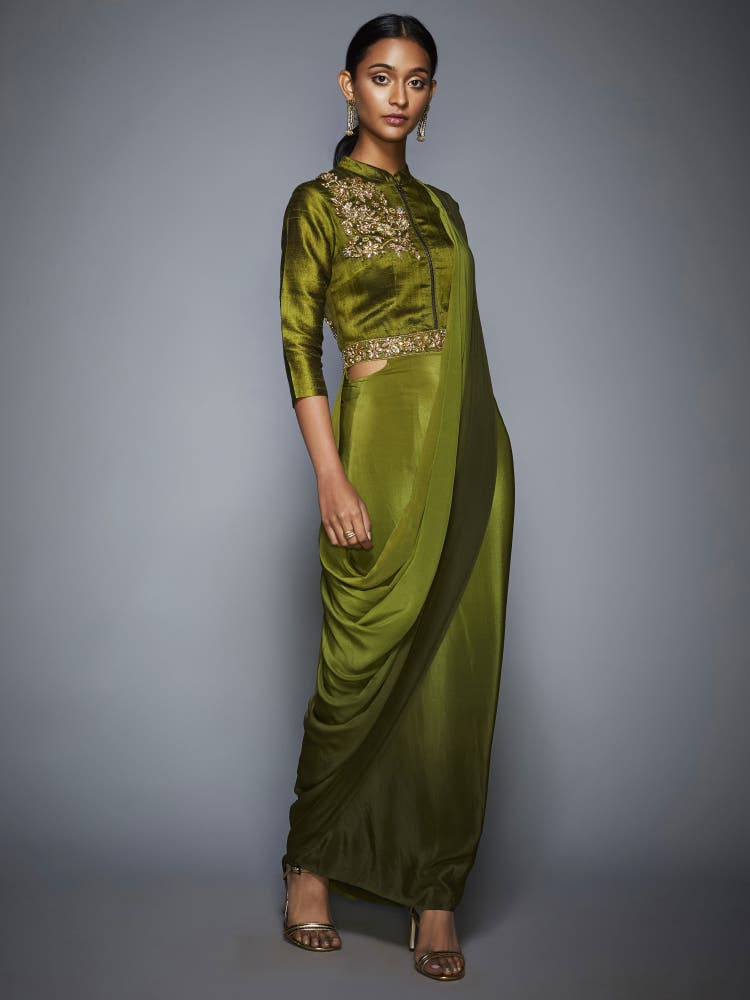 Khaki Green Ombre Pre-Draped Saree With Stitched Blouse
