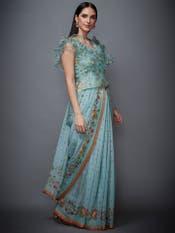 Aqua & Peach Ruffle Ethina Saree With Stitched Blouse