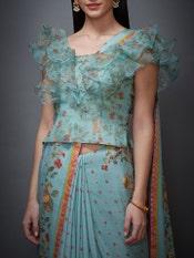 Aqua & Peach Ethina Ruffle Saree With Stitched Blouse