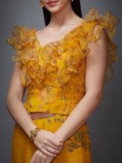 Mustard & Olive Green Ethina Ruffle Saree With Stitched Blouse
