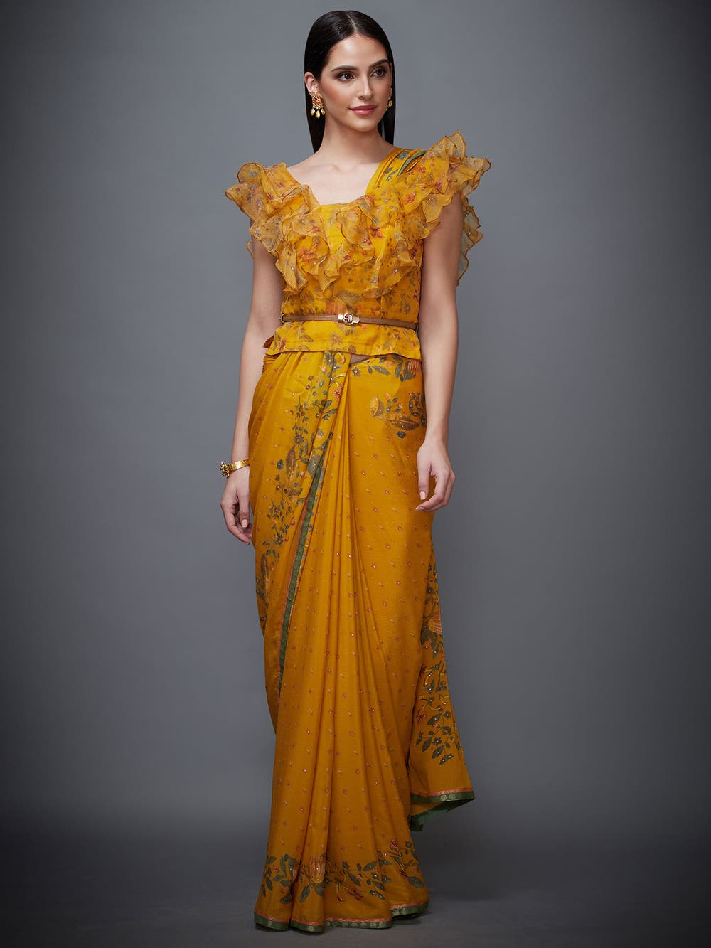 Mustard & Olive Green Ruffle Ethina Saree With Stitched Blouse
