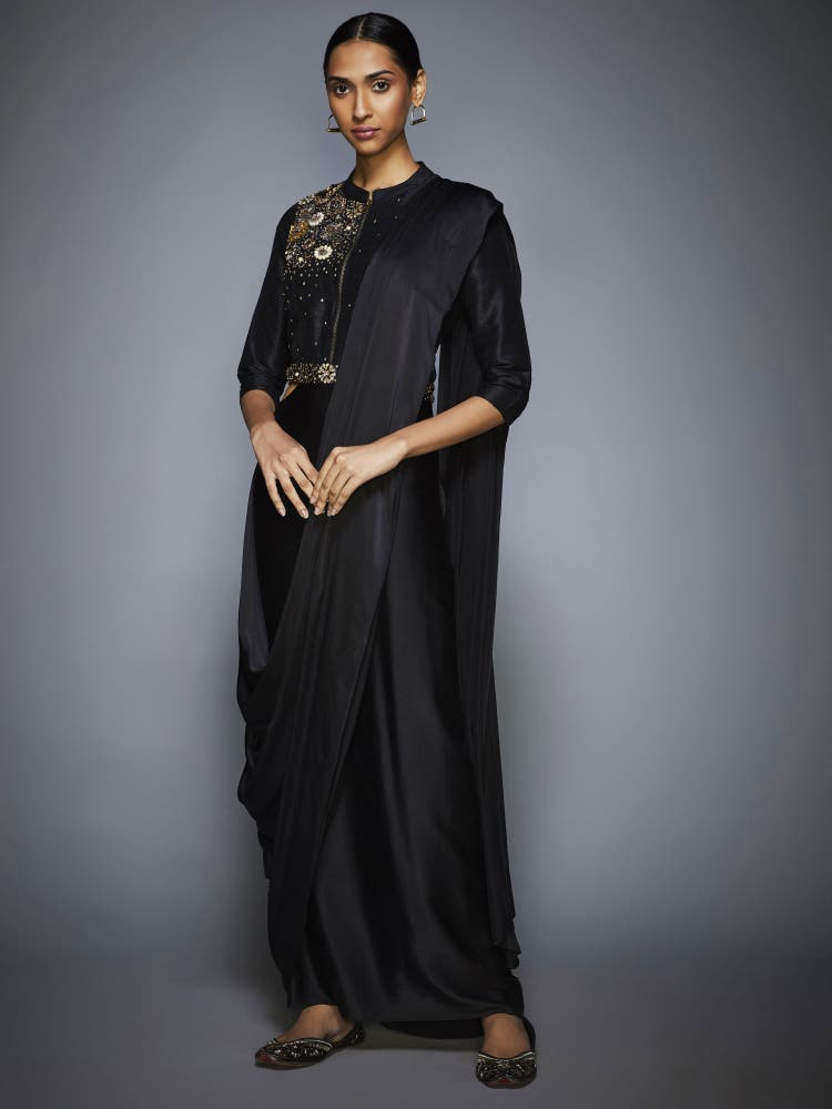 Black Sequin Pre-Draped Saree With Stitched Blouse