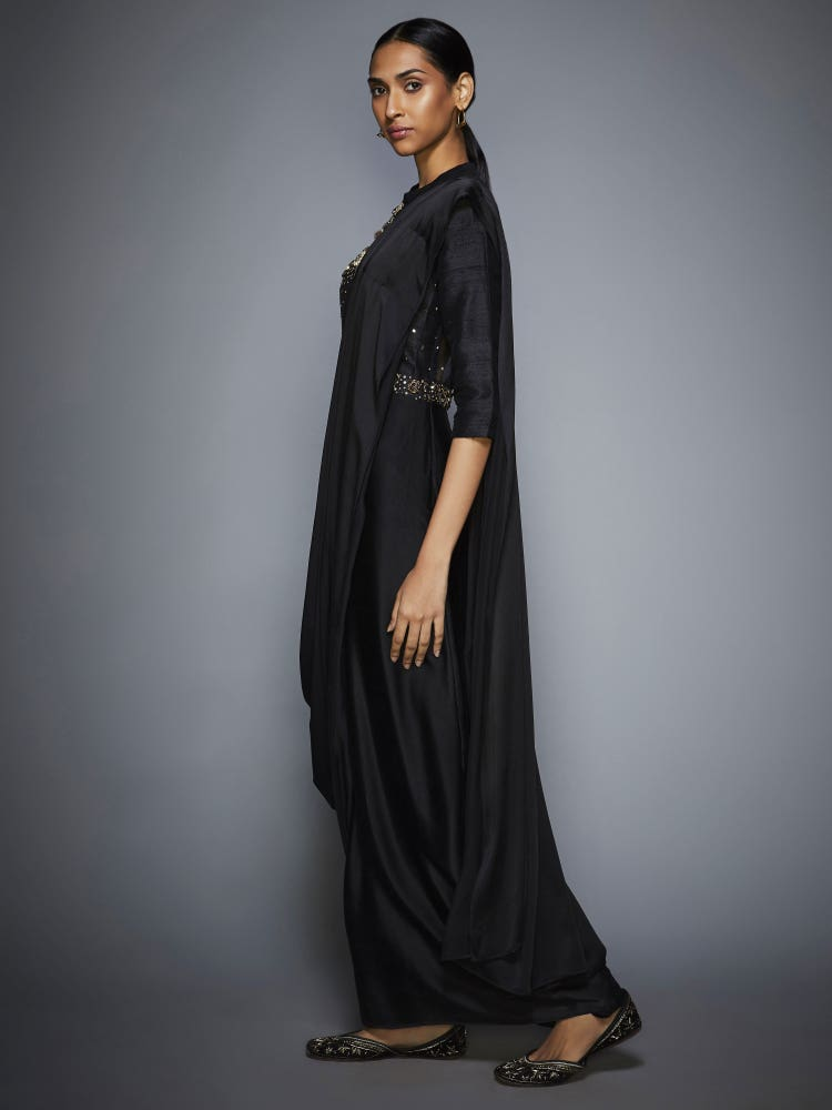 Black Noorie Sequin Pre-Draped Saree With Stitched Blouse