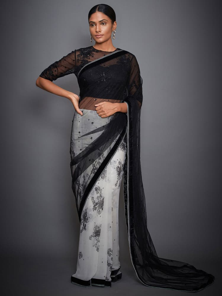 Ivory & Black Floral Saree With Stitched Blouse