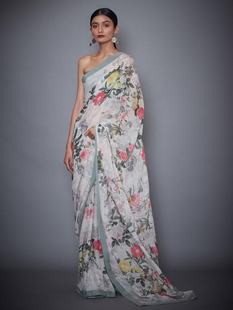 Ecru & Black Rajshree Floral Saree With Stitched Blouse