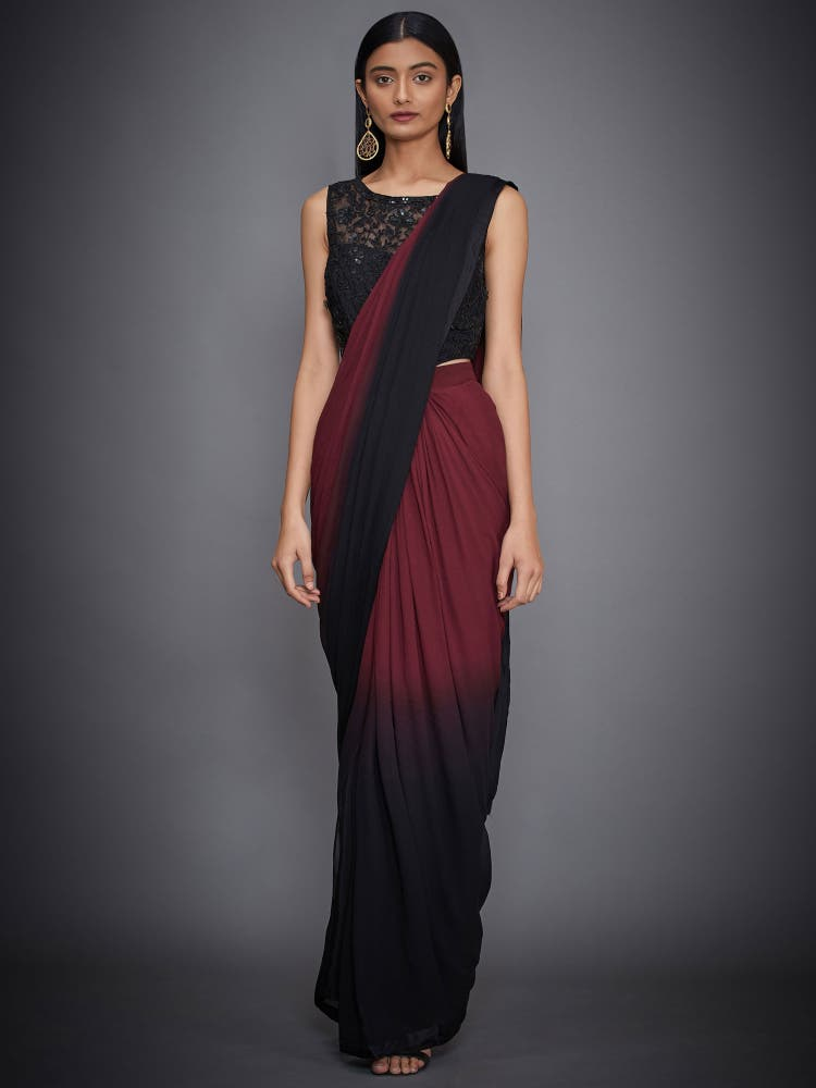 Black & Burgundy Pre-Draped Saree With Stitched Blouse