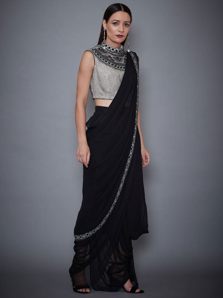 Black & White Tantra Embroidered Draped Saree With Stitched Blouse