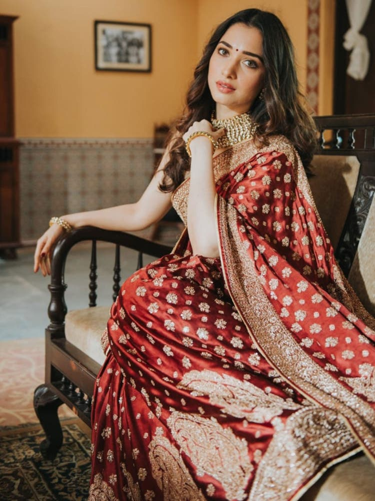 Tamannaah Bhatia's Burgundy Embroidered Paisley Saree with Unstitched Blouse