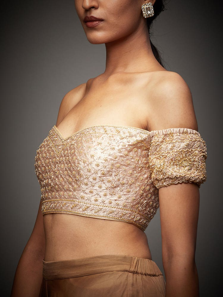 Beige Tania Zardozi Embroidered Silk Blouse