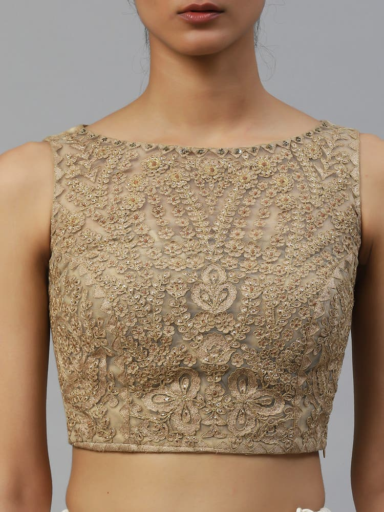 Beige Gold Palace Embroidered Blouse