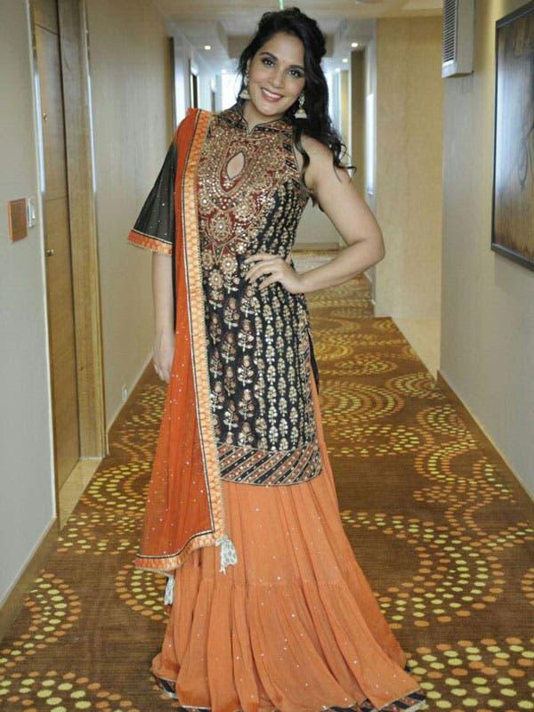 Richa Chadda in a Black & Rust Embroidered Kurta With Dupatta And Skirt