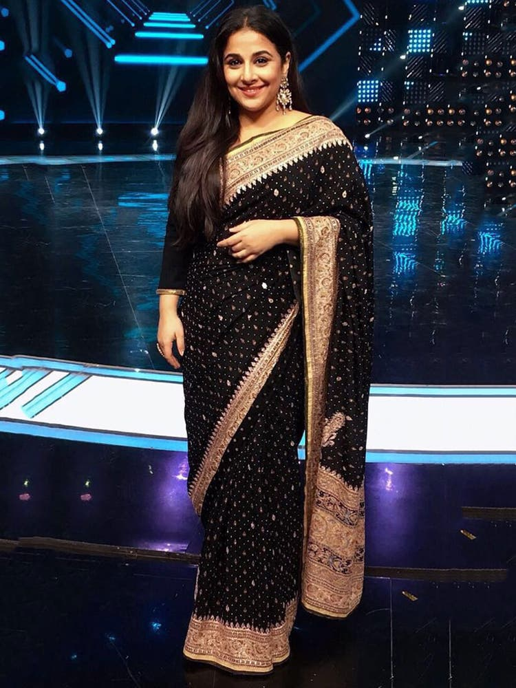 Vidya Balan's Black & Gold Embroidered Saree With Unstitched Blouse