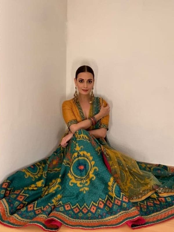 Dia Mirza in a Bottle Green & Mustard Ikat Lehenga Set